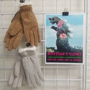 BOGO! Dillards tan/white leather gloves w/ fleece